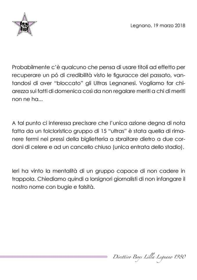 Comunicato Boys Lilla Saronno-Legnano