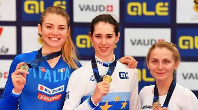 Martini Alzini argento agli Europei di ciclismo su pista