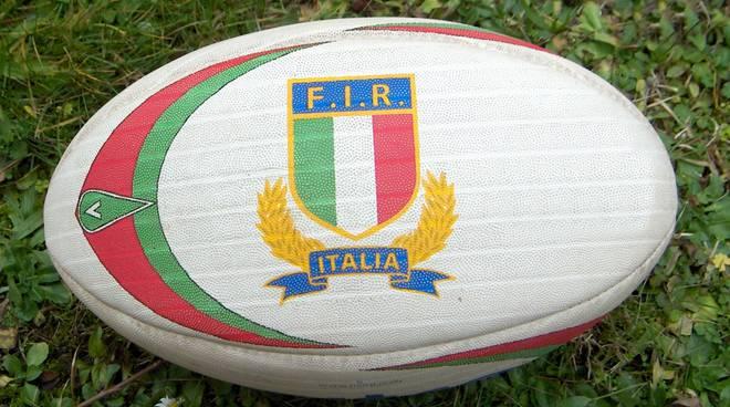 Pallone da rugby con logo federazione italiana rugby