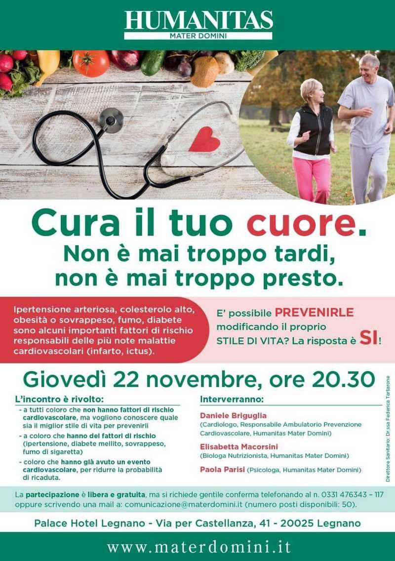 """""""Cura il tuo cuore"""", una serata dedicata alla prevenzione di malattie cardiovascolari"""