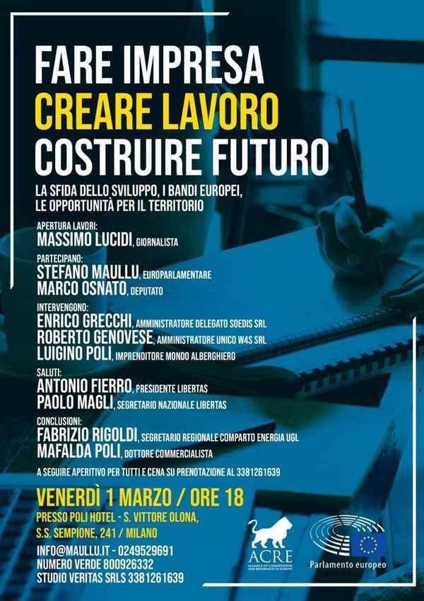 """""""Fare impresa, creare lavoro, costruire futuro"""" incontro al Poli Hotel di San Vittore Olona"""