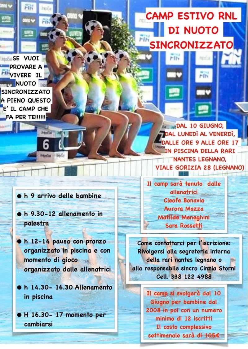Camp estivo 2019 Rari Nantes Legnano nuoto sincronizzato