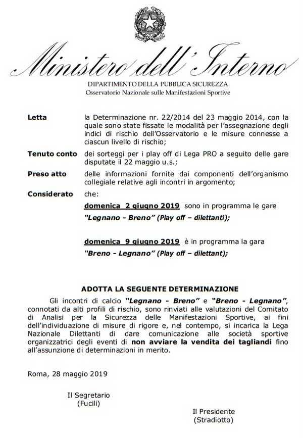 Determinazione Osservatorio Nazionale sulle Manifestazioni Sportive Legnano-Breno