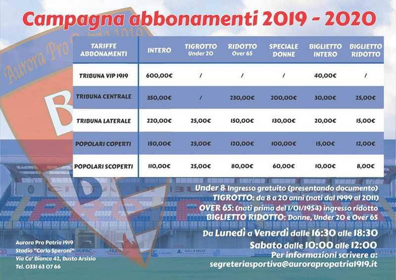 Campagna abbonamenti 2019/20 Aurora Pro Patria