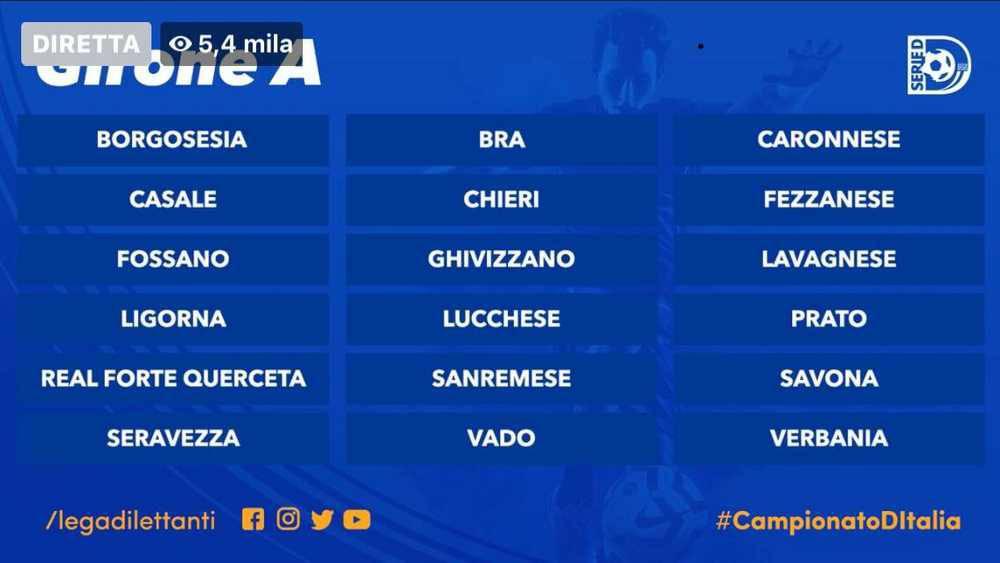 Calcio Serie D i gironi A e B