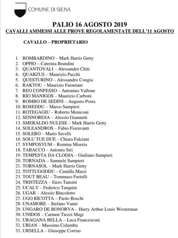 Cavalli prove regolamentate palio di Siena 16 agosto 2019