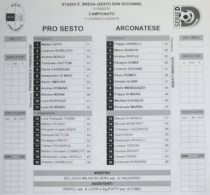Calcio Serie D tabellini