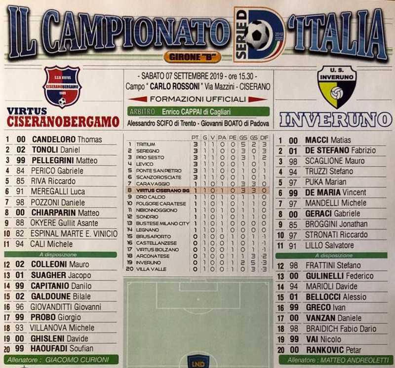 Serie D Girone B II giornata di andata