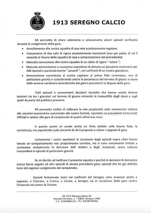 Esposto Seregno Calcio a FIGC