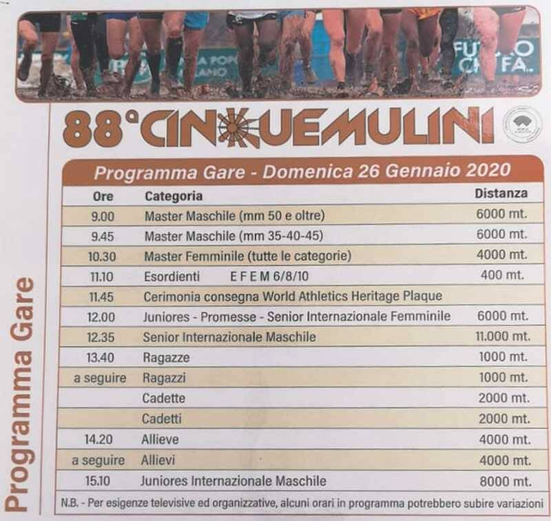Cinque Mulini 2020 orario gare