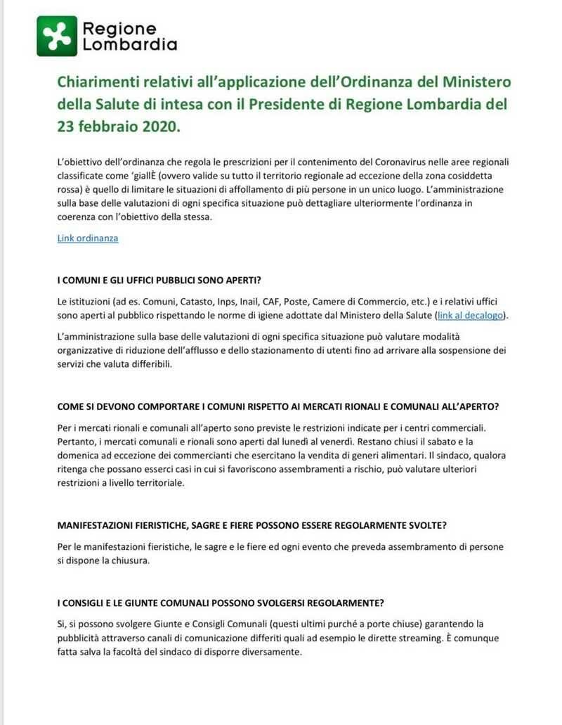 Chiarimenti ordinanza coronavirus Lombardia