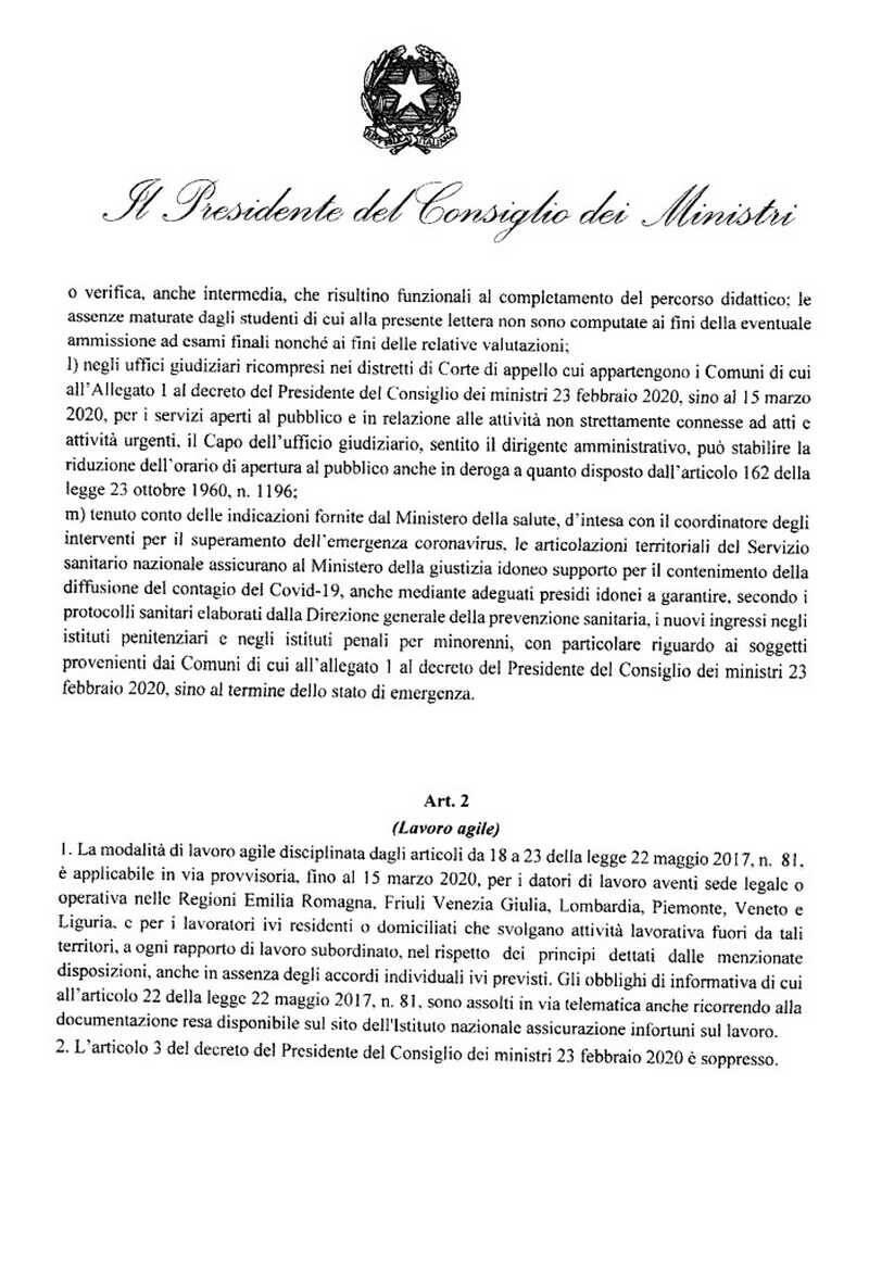 Decreto Presidente del Consiglio 25 febbraio 2020