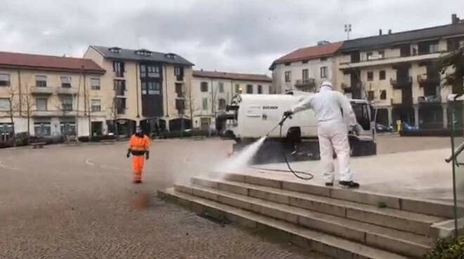 Coronavirus sanificazione strade Parabiago