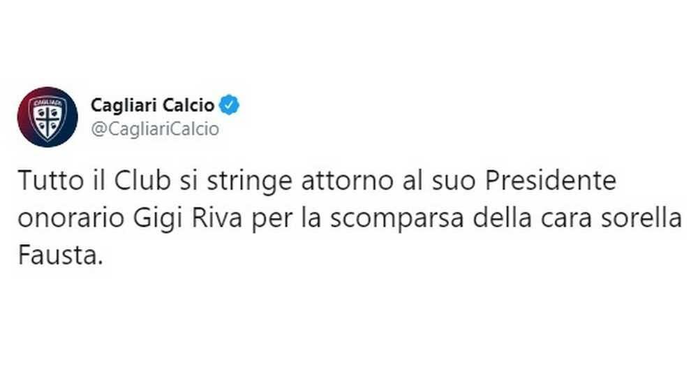 Messaggio di cordoglio del Cagliari per la morte della sorella do Gigi Riva