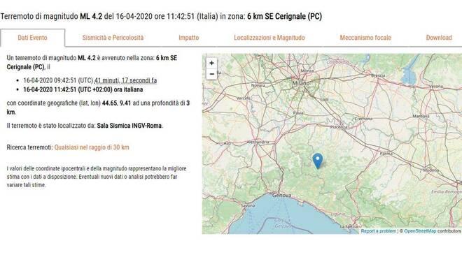 Terremoto Cerignale Piacenza 16 aprile 2020