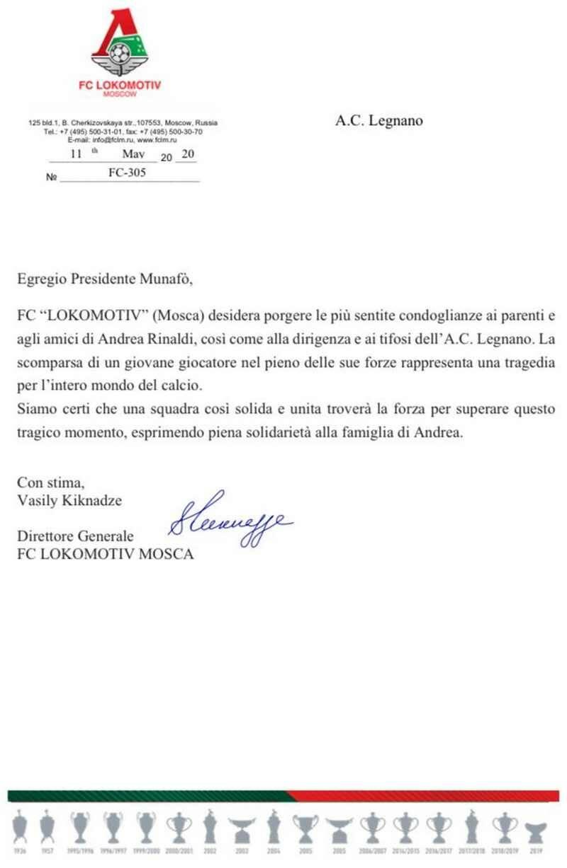 Andrea Rinaldi A.C. Legnano cordoglio Lokomotiv Mosca