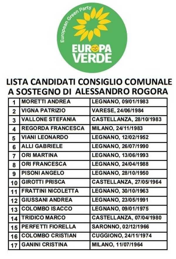 Alessandro Rogora Europa Verde Verdi Legnano