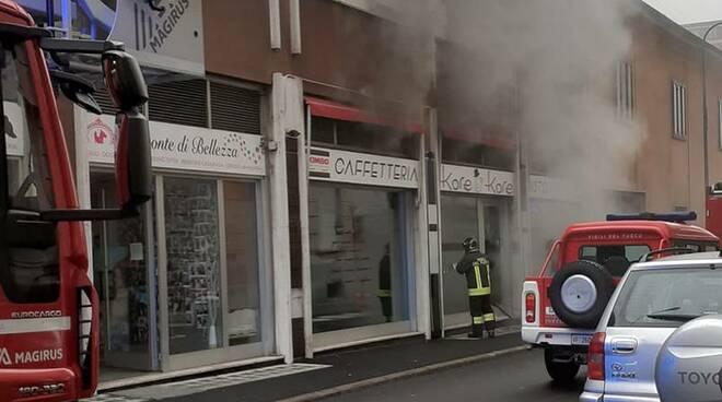 Incendio bar centro Legnano