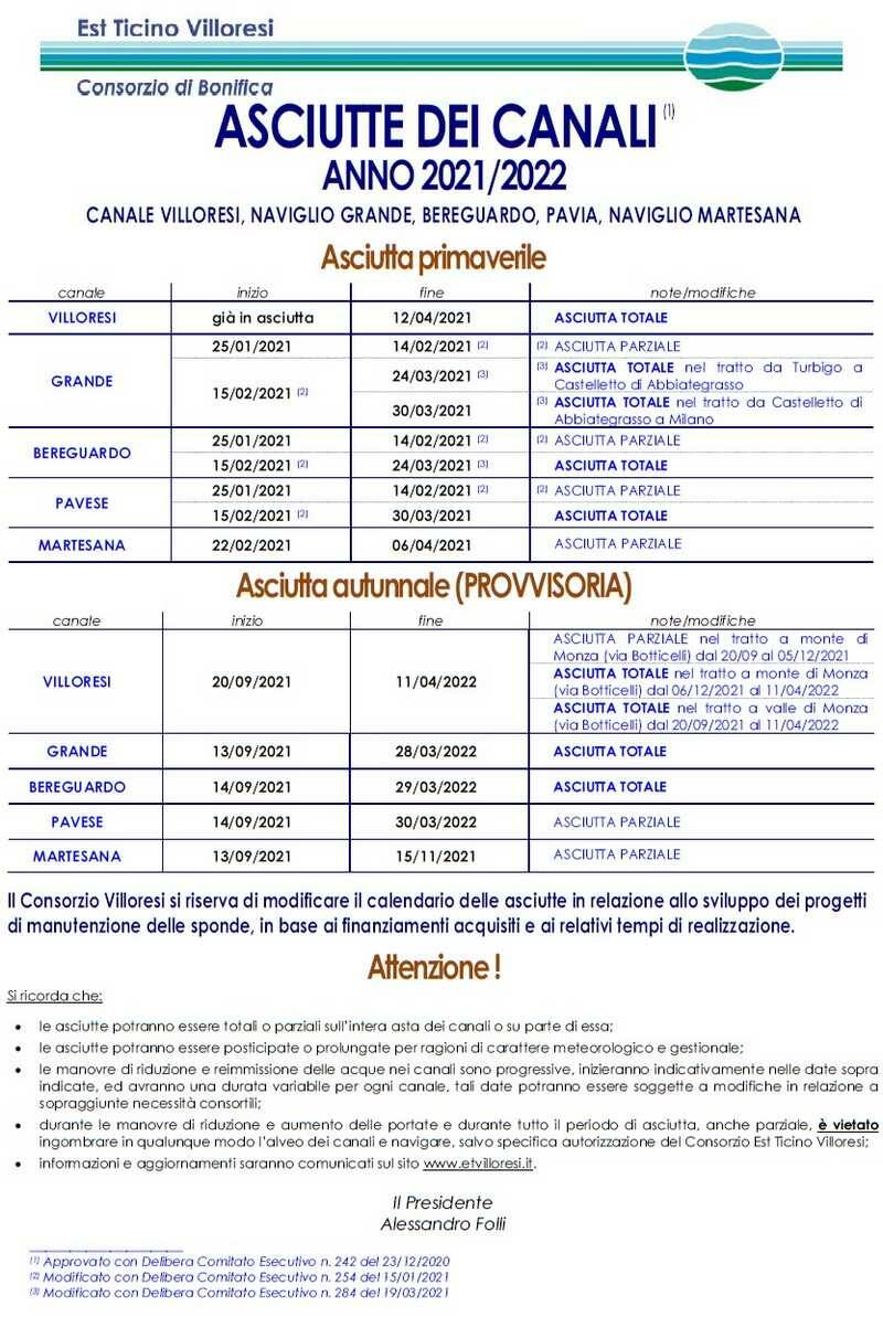 Calendario asciutte canali Navigli Consorzio Est Ticino Villoresi