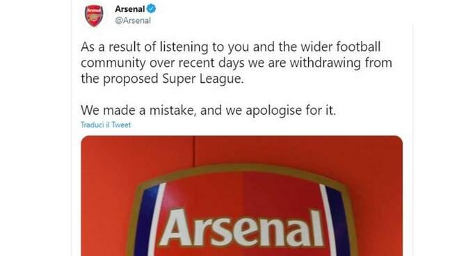 Arsenal abbandona progetto Super League