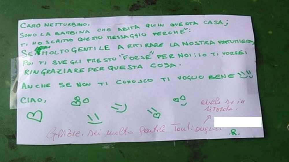 Messaggio ringraziamento bimba Legnano secchio raccolta vetro