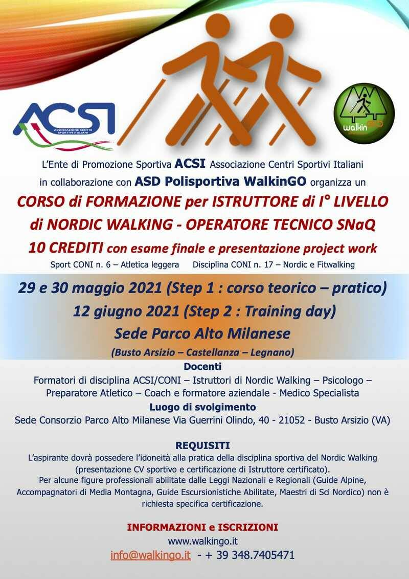 Parco Altomilanese Corso istruttori nordic walking ASD Walkingo