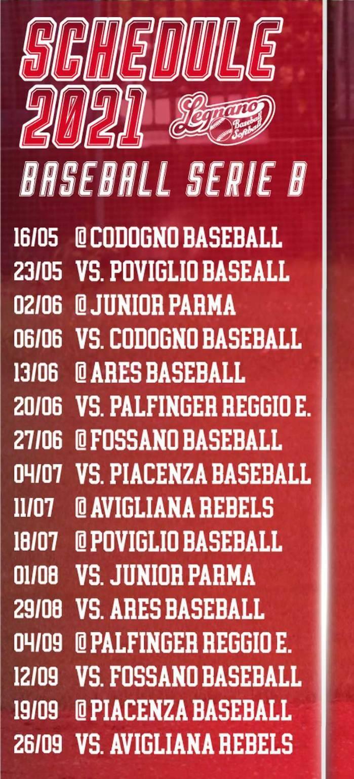 Calendario Legnano Baseball Serie B