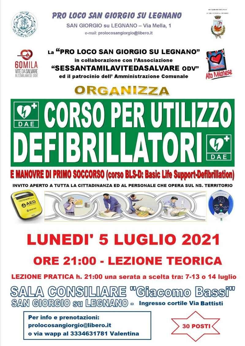 Corso uso defibrillatore Pro Loco San Giorgio su Legnano